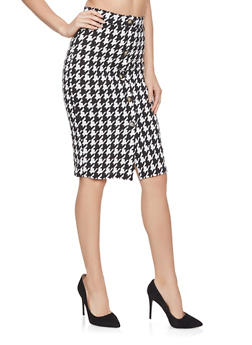 Houndstooth Pencil Skirt - 1062074011583