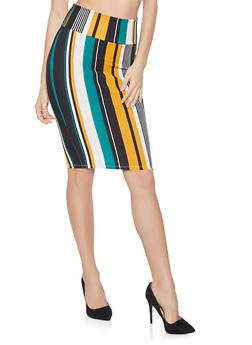 Striped Pencil Skirt - 1062074011585