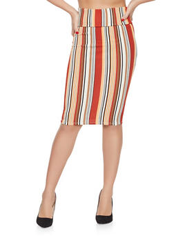 Striped Pencil Skirt - 1062074011585