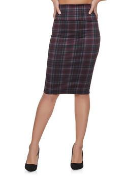 Plaid Pencil Skirt - 1062074011586