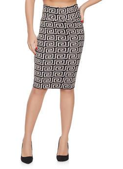 Geometric Print Pencil Skirt - 1062074011587