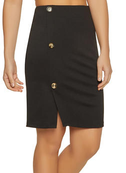 Button Detail Ponte Pencil Skirt - 1062074011594