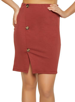 Button Detail Ponte Pencil Skirt - 1062074011594