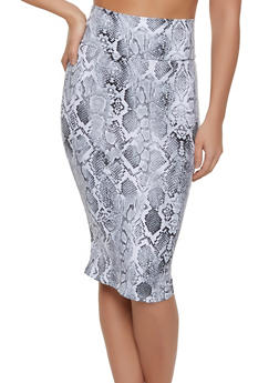 Snake Print Soft Knit Pencil Skirt - 1062074011596