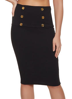 Textured Knit Sailor Pencil Skirt - 1062074011597