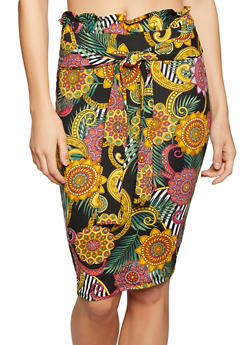 Printed Tie Front Pencil Skirt - 1062074011612