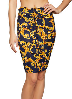 Printed Tie Front Pencil Skirt - 1062074011613