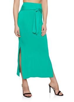 Tie Waist Maxi Pencil Skirt - 1062074011639