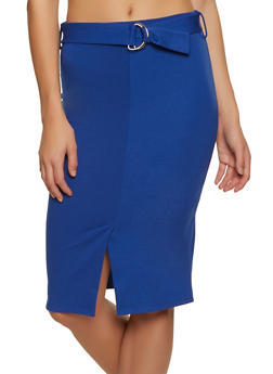 Belted Front Midi Pencil Skirt - 1062074011667