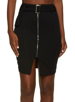 Belted Zip Front Pencil Skirt - 1062074011668