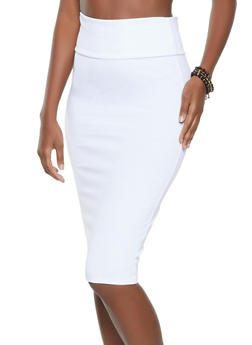 Ponte Solid Pencil Skirt - 1062074011669