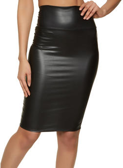 Solid Faux Leather Pencil Skirt - 1062074011683