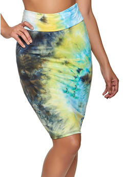 Soft Knit High Waisted Tie Dye Pencil Skirt - 1062074011699