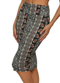 Border Print Pencil Skirt - 1062074011707