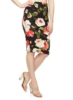 Printed Soft Knit Pencil Skirt - 1062074015115