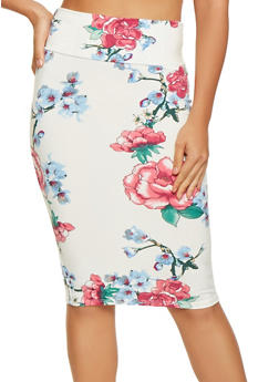 Floral Soft Knit Pencil Skirt - 1062074015490