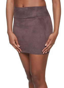 Faux Suede Mini Skirt - 1062074016161