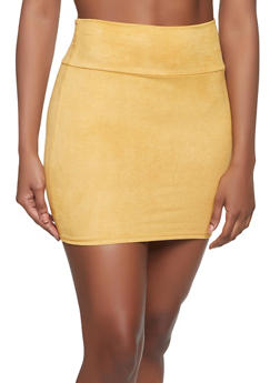 Faux Suede Mini Skirt - 1062074016161