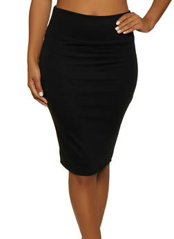 Back Slit Ponte Pencil Skirt - 1062074016646