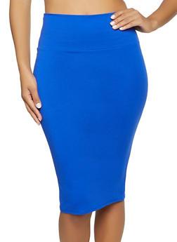 Back Slit Ponte Pencil Skirt - 1062074016646