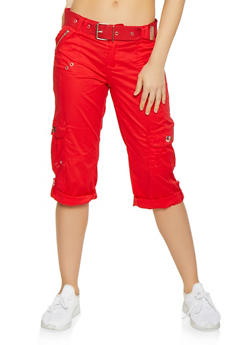 Tabbed Cuff Belted Cargo Capris - 1066038342211