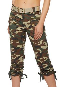 Belted Camo Capri Pants - 1066038342260