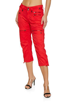 Zipper Capri Cargo Pants - 1066038349129