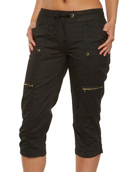 Ruched Cargo Capri Pants - 1066038349239