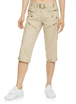 Belted Cargo Capri Pants - 1066038349291