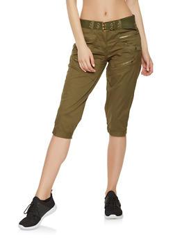 Belted Cargo Capri Pants - 1066038349291