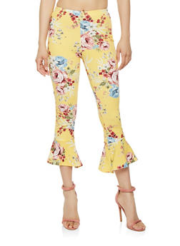 Cropped Floral Ruffle Hem Pants - 1066074015812