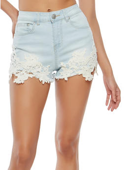 Almost Famous Crochet Trim Denim Shorts - 1070015990108