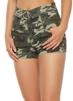 Fold Over Belted Shorts - GREEN - 1070015990112