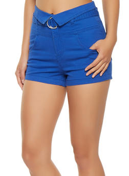 Fold Over Belted Shorts - 1070015990112