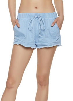 Almost Famous Frayed Hem Chambray Shorts - 1070015990290