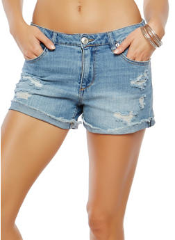 Almost Famous Distressed Denim Shorts - 1070015991130