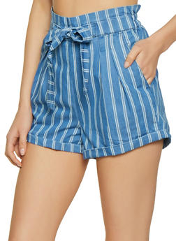 Almost Famous Striped Chambray Paper Bag Shorts - 1070015995292