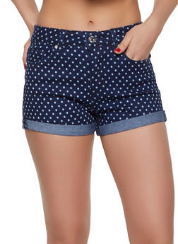 Almost Famous Polka Dot Jean Shorts - 1070015995850