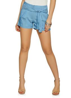 Tie Waist Chambray Shorts - 1070056573213