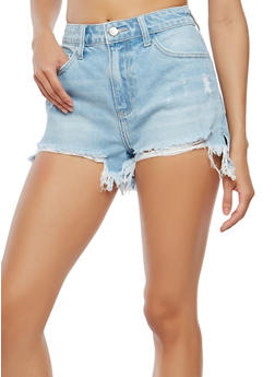 Cello High Waisted Destroyed Denim Shorts - 1070063156051