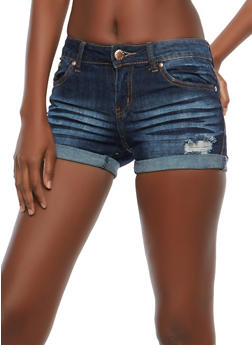 VIP Distressed Denim Shorts - 1070065308093