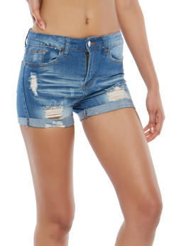 VIP Cuffed Denim Shorts - 1070065308388