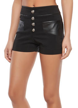 Faux Leather Trim Shorts - 1070068195012