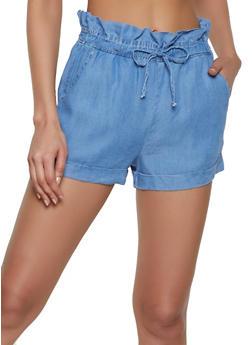 Chambray Paper Bag Waist Shorts | 1070069390450 - 1070069390450