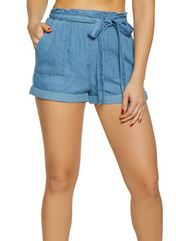 Fixed Cuff Chambray Shorts - 1070071315069