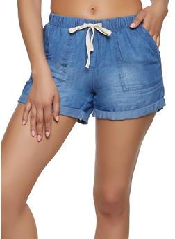 Tie Front Chambray Shorts - 1070071315071