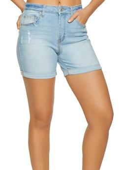 WAX Cuffed Denim Shorts - 1070071610145