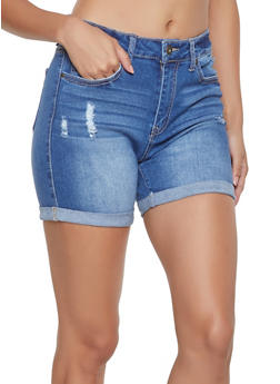 WAX Cuffed Denim Shorts - 1070071610145