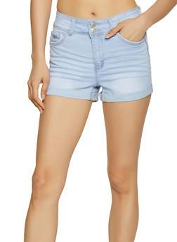 WAX 2 Button Fixed Cuff Denim Shorts - 1070071610153