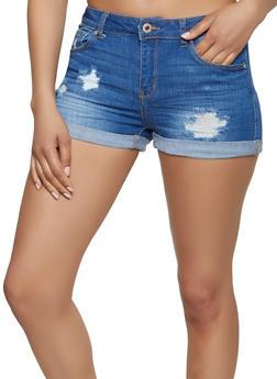 WAX Distressed Fixed Cuff Denim Shorts - 1070071610154